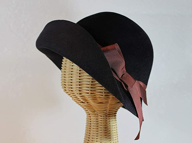 49923d44b52 Image Unavailable. Image not available for. Color  Custom Made Velour Felt  Edith 20 s Cloche Hat