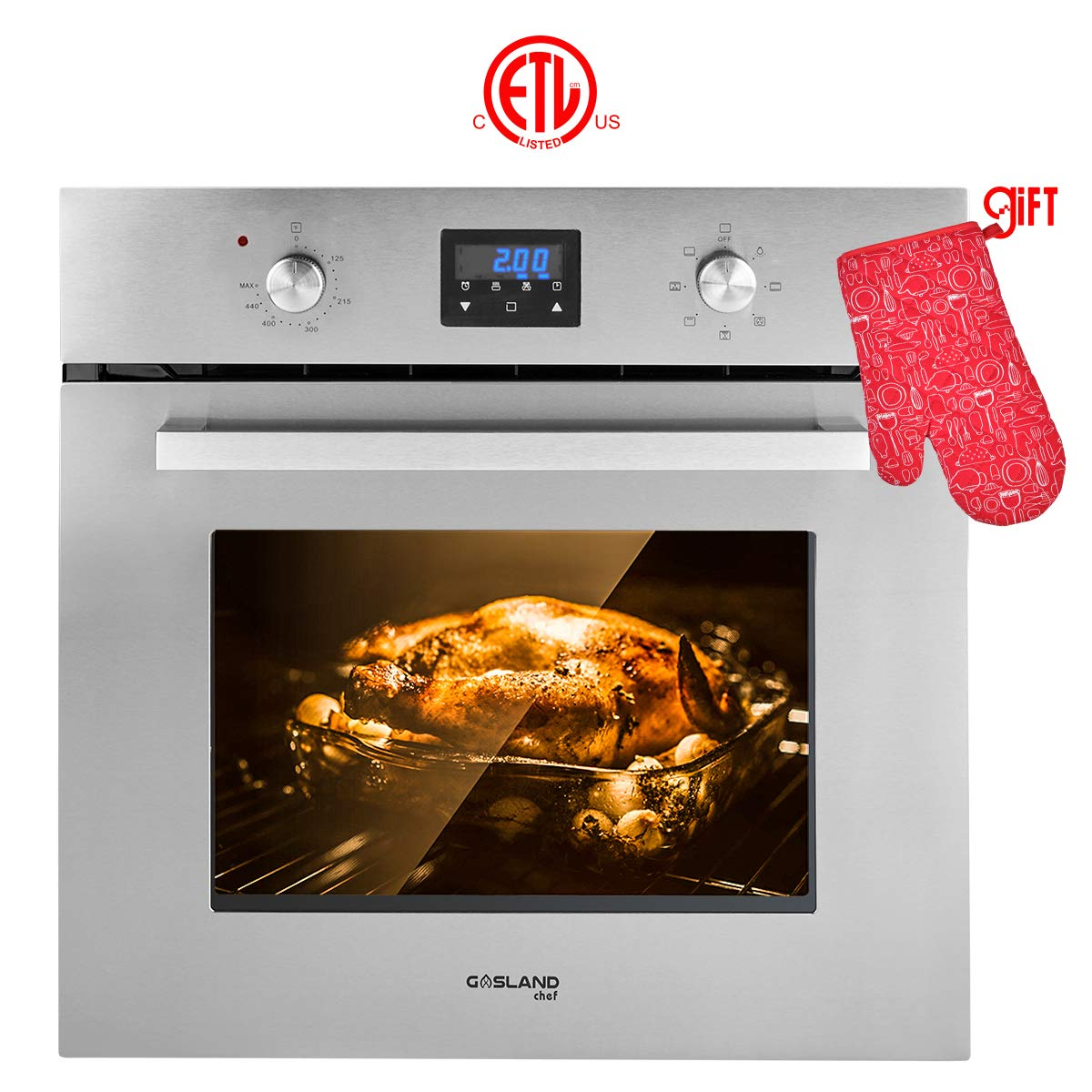 "Single Wall Oven, GASLAND Chef ES609DS 24"" Built-in Electric Single Wall Oven, 9 Cooking Function, Stainless Steel Electric Wall Oven with Cooling Down Fan, 3 Layer Glass, ETL Safety Certified"