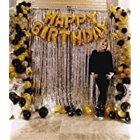 Khurana Decorative 24pcs Combo Happy Birthday Letter Foil Balloon Set of Gold + Silver Fringe Curtain (3 X 6 Feet) + HD Metallic Balloons (Gold, Black and Silver) Birthday Decorations Items