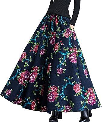 78dde24a24 Femirah Women's Autumn Winter Long Maxi Wool Skirt (Waist: 60cm-65cm, Length