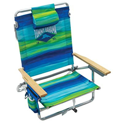 Tommy Bahama 5-Position Classic Lay Flat Folding Backpack Beach Chair - Blue and Green Stripe: Sports & Outdoors