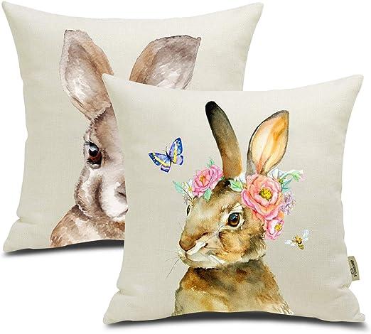 "18/"" Easter Rabbit Pattern Cotton Linen Home Decorative Pillow Case Cushion Cover"