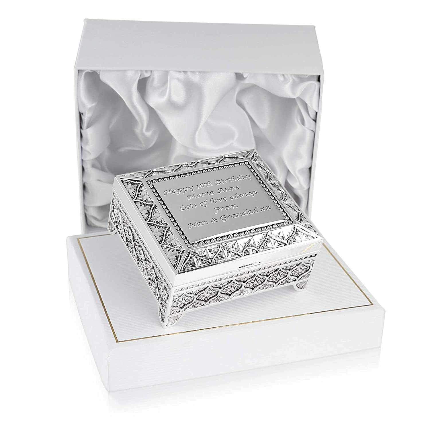 Girls 16th Birthday Gift Silver Plated Trinket Box In A Satin Lined Presentation Idea