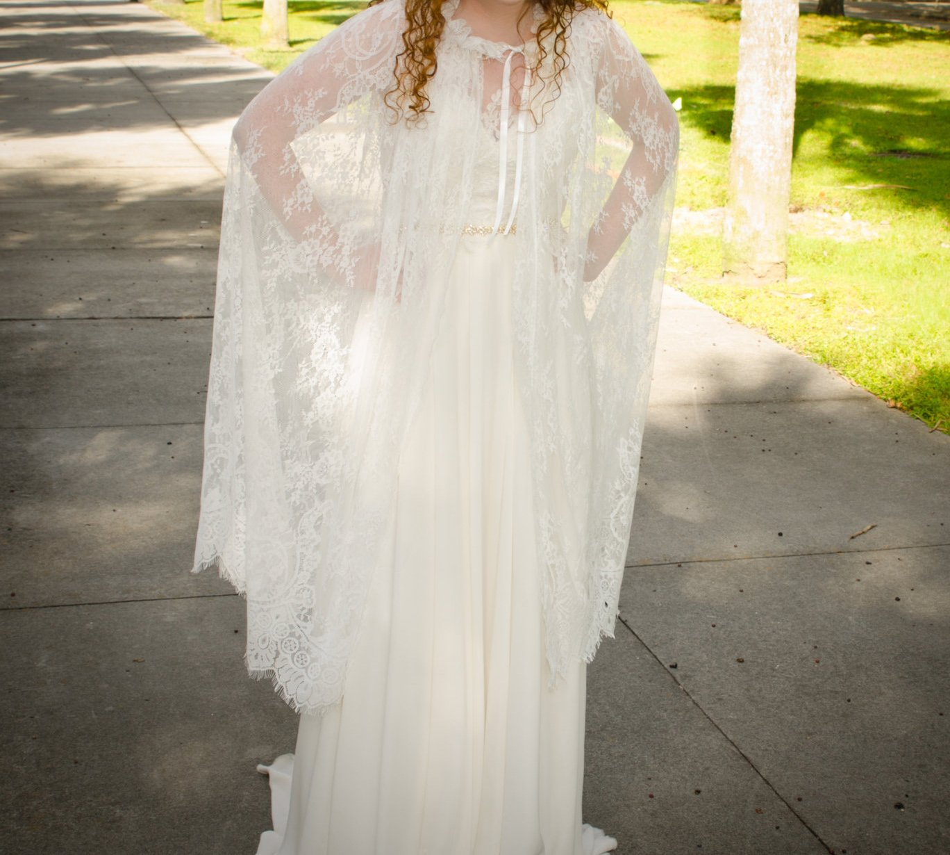YuRong Long Bridal Shawls Wrap Lace Applique Scarf Capes Lace Cover Up C04 (Ivory) by YuRong (Image #3)