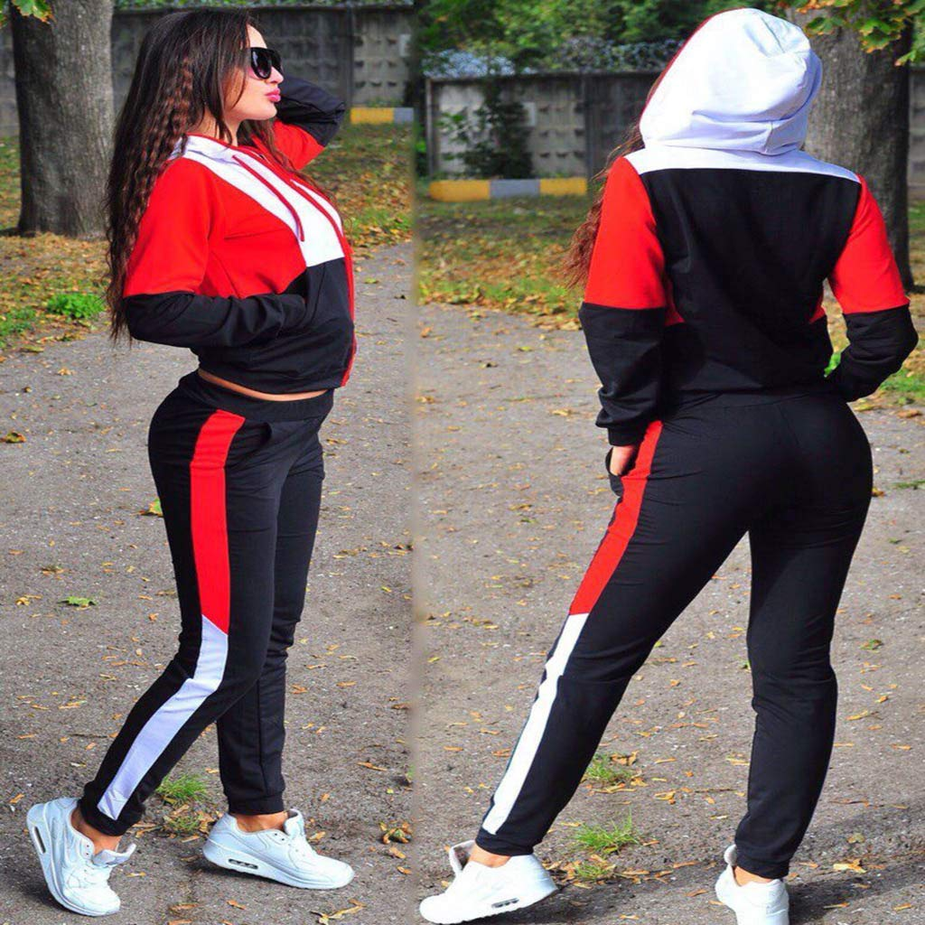 2PC Outfits Fashion Women Casual Colorblock Zipper Long Sleeve Sport Tracksuit