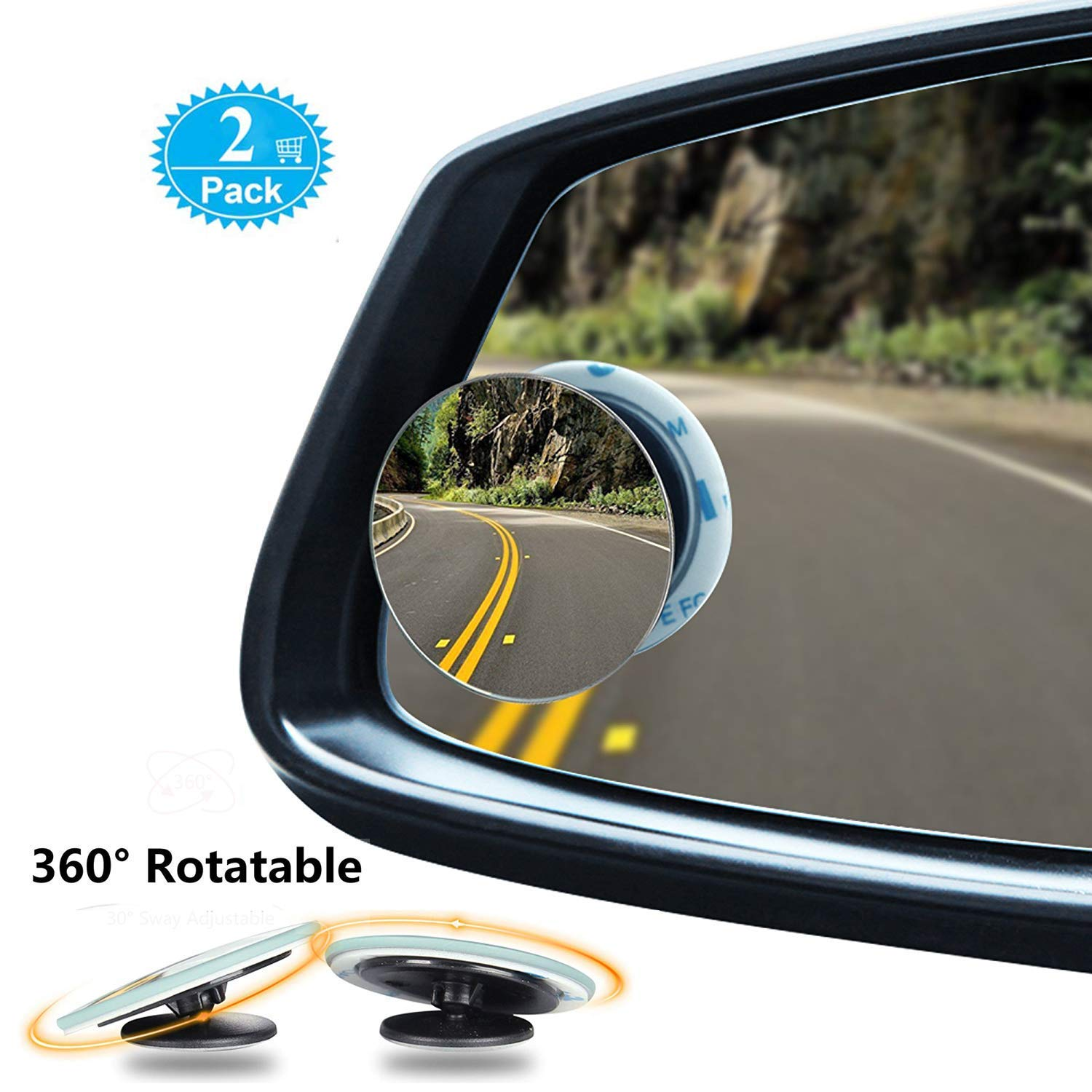 Blind Spot Mirrors 360° Rotatable Convex Rear View Mirror For Cars 2 Pack Grway