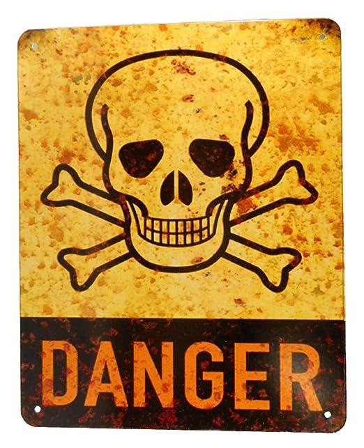 Blechschild Cartel de Chapa Danger Calavera cráneo 26 x 20 ...