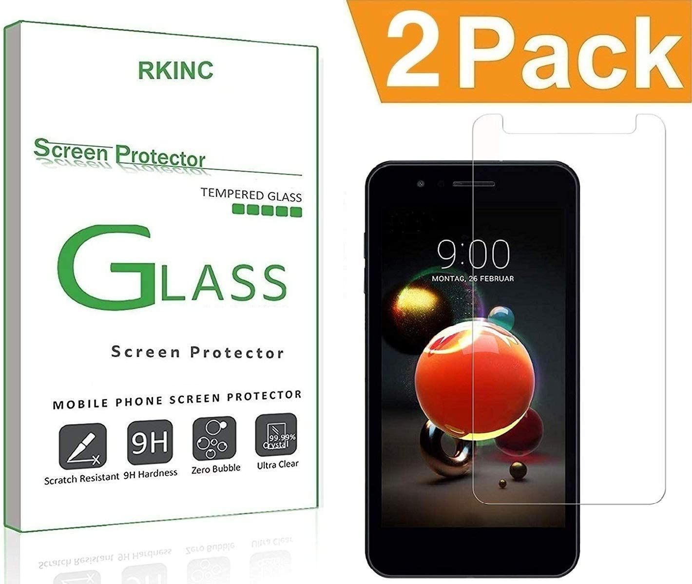 RKINC Screen Protector for LG Rebel 4 (LTE), Tempered Glass Screen Protector[0.3mm, 2.5D][Bubble-Free][9H Hardness][Easy Installation][HD Clear] forLG Rebel 4 (LTE)(2 Pack)