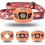 Sunix ハイパワー LEDヘッドライト 2000mAhのリチウム充電電池、長いバッテリ寿命 明るさ120ルーメン/実用点灯10時間,完全防水,調光モード、夜間モード、ストロボモード,夜の作業 夜釣り キャンプなどのアウトドア活動に適用 (オレンジ)SU003