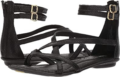 24dab3cfdab1 Image Unavailable. Image not available for. Color  Born Mai Gladiator Black  Embossed Full Grain Leather Women s Sandals