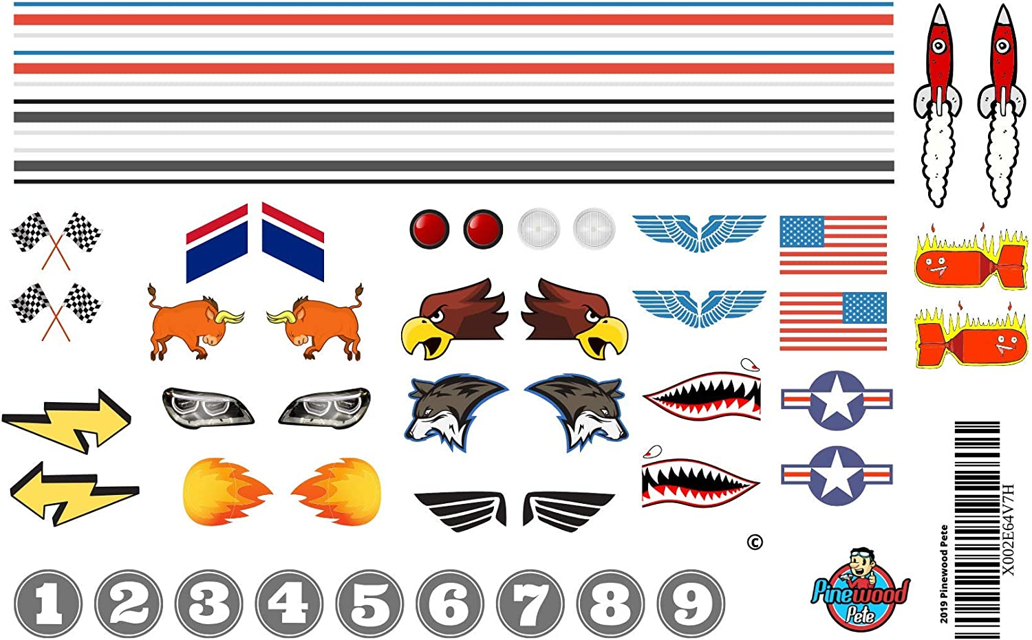 Pinewood Pete Pinewood Derby Car Sticker Set. Stripes, Numbers, Flags, Lights, and More.