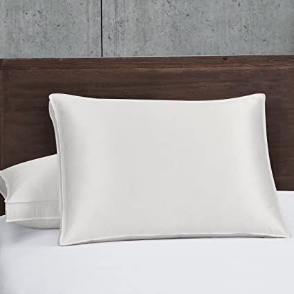 Set Of Two King Silk Goose Down Pillow  Fill Power Firm Support  White