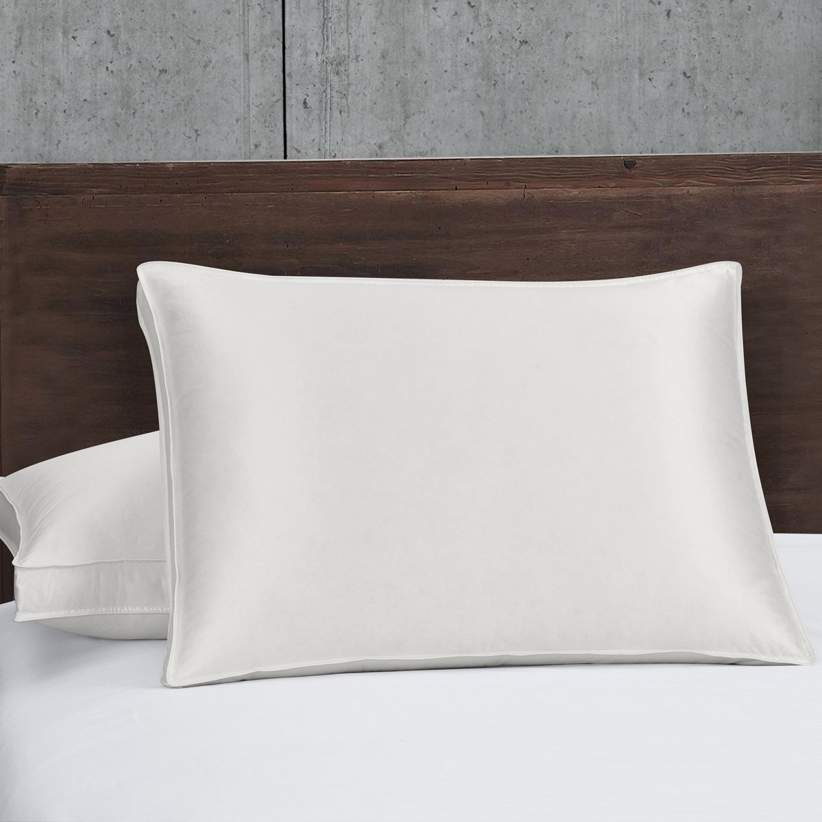 Set of Two Standard/Queen Silk Goose Down Pillow 700 Fill Power Firm Support 100% White Goose down Pillows