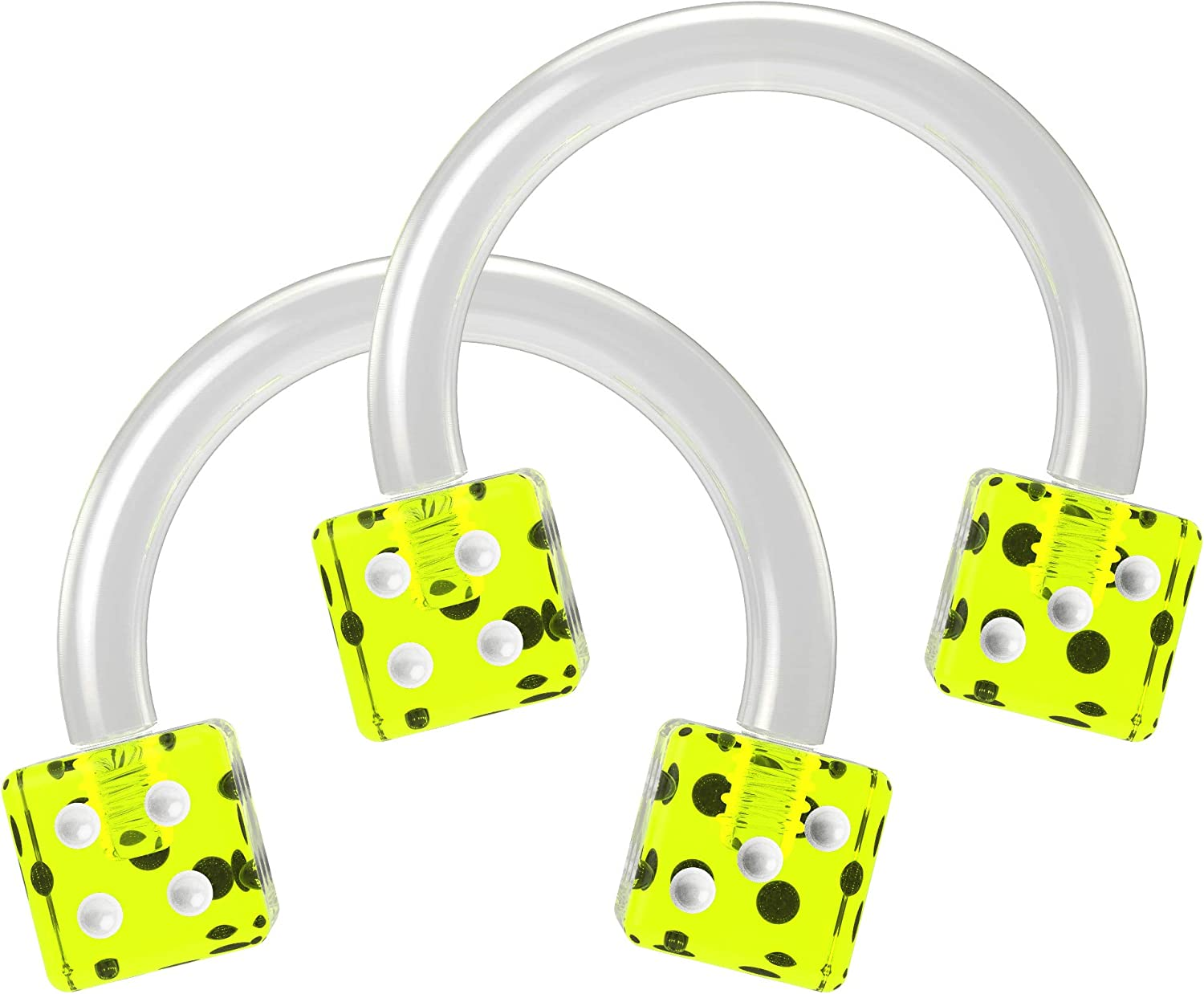 2pc 16g Cute Dice Circular Barbell Piercing Horseshoe Septum Cartilage Tragus Flexible Acrylic 8mm