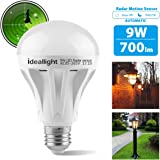 Motion Sensor Light Bulb Radar Motion Activated LED Bulb Dusk to Dawn E26/E27 Auto On/Off Indoor/Outdoor Movement Detector Night Light for Front Door Hallway Stairs Basement Patio Porch Garage (1pack)