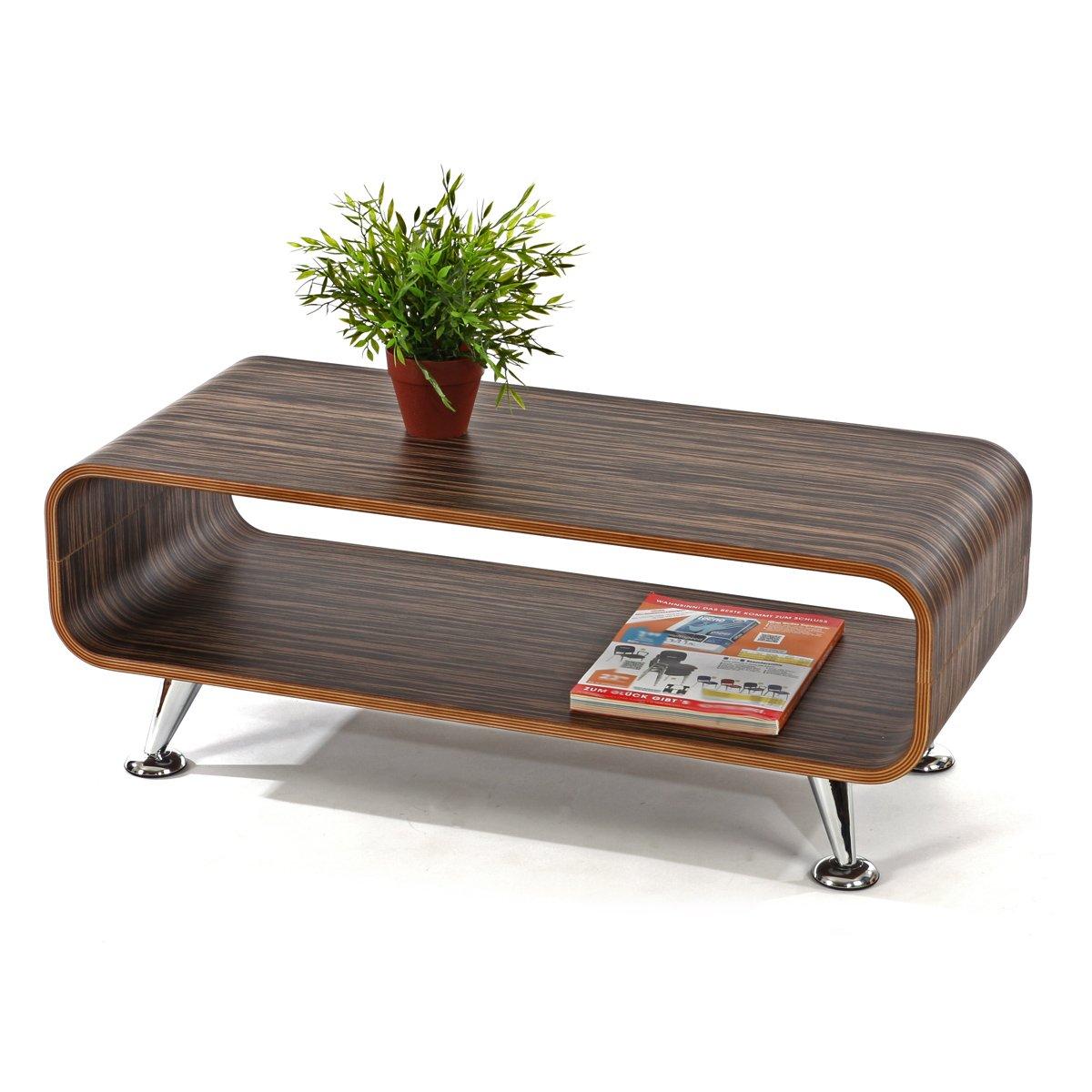 Club Couchtisch dunkel Retro Lounge Wohnzimmertisch Loungetisch 70 er Holz gestreift
