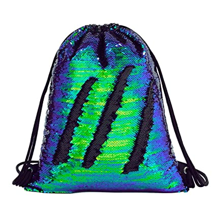 9d0b0f6d9480 Amazon.com  Sequin Drawstring Backpack Gym Dance Bags Mermaid Magic ...