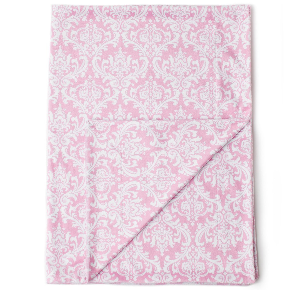 """Kids N' Such Minky Baby Blanket 30"""" x 40"""" - Pink Damask - Soft Swaddle Blanket for Newborns and Toddlers - Best for Girls Crib Bedding, Nursery, and Security - Plush Double Layer Fleece Fabric"""