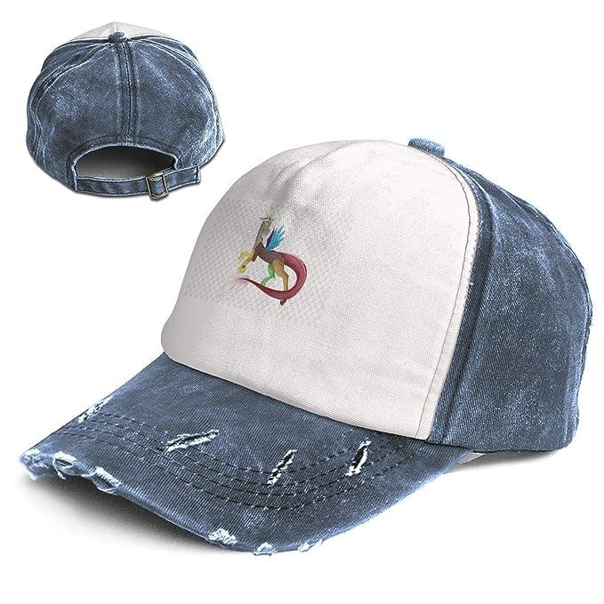 17bb98ccbd9f4 Dream Blue Unicorn Loong Colour Adult Mens Women Hat Cap Distressed Washed  Baseball Cotton Denim Jean