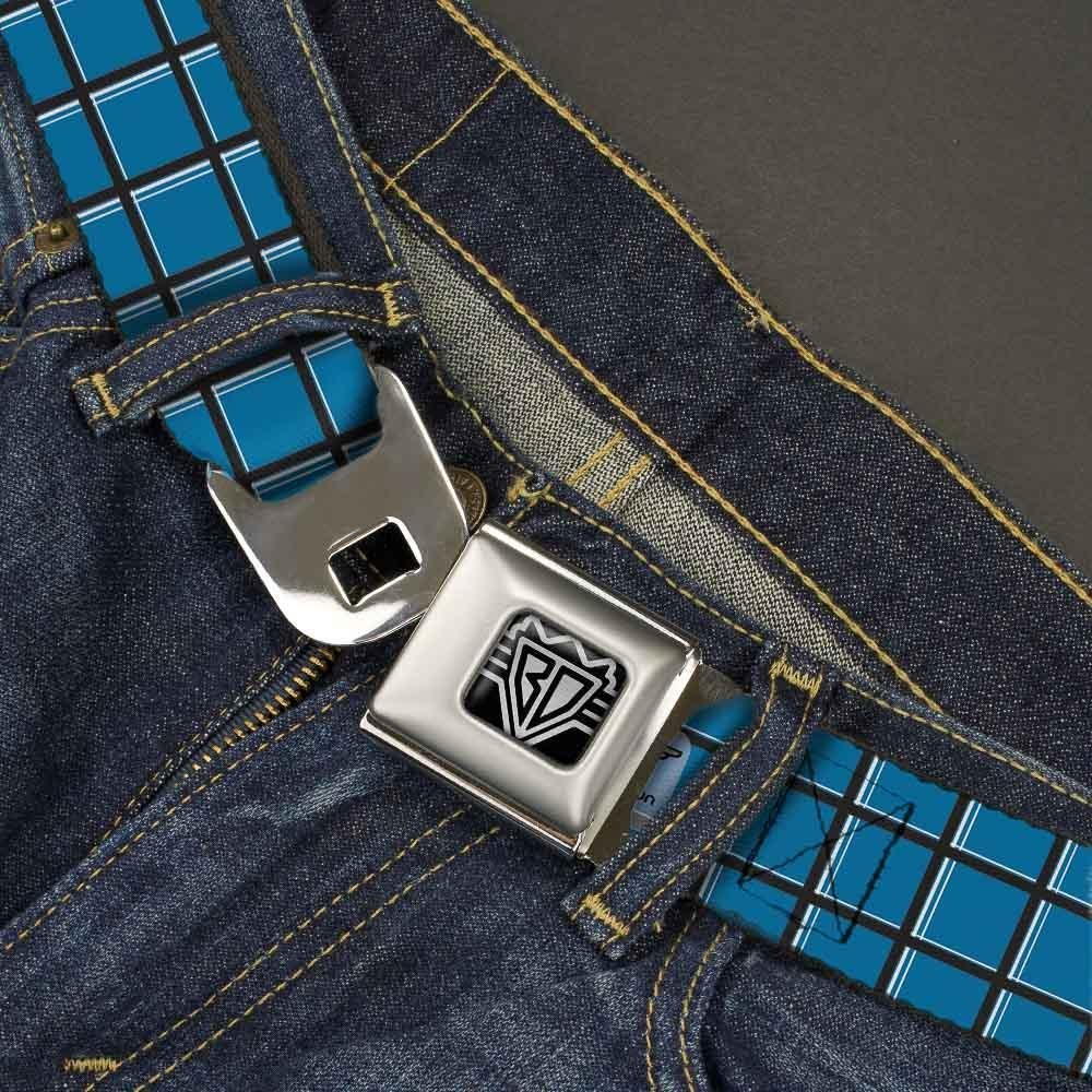 Wire Grid Turquoise//Gray//White 1.5 Wide Buckle-Down Seatbelt Belt 24-38 Inches in Length