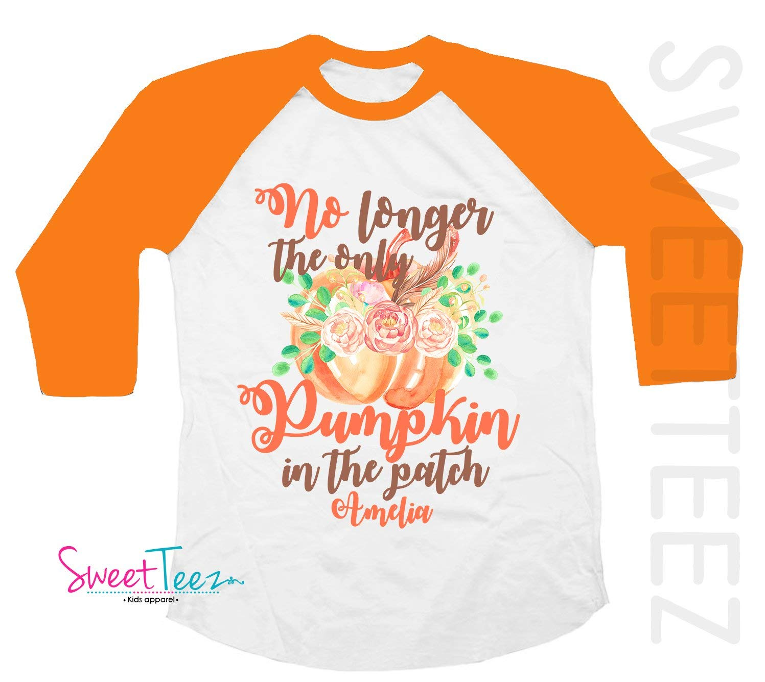 Big Sister Shirt Pumpkin Personalized For Fall And Thanksgiving Pregnancy Announcement Orange Raglan