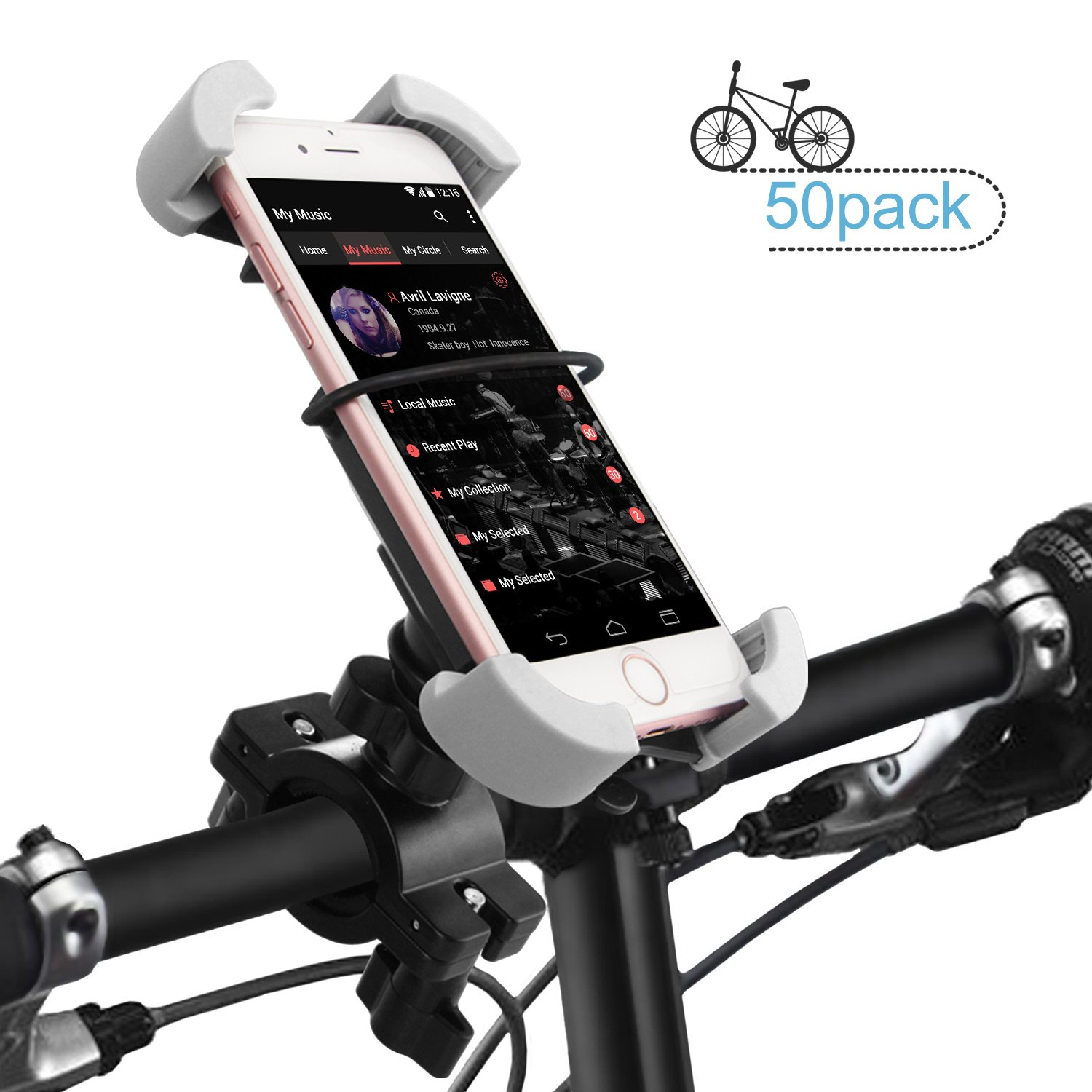 Bike Phone Holder Mount, ilikable 50 Pack Universal Bicycle Motorcycle Handlebar Cell Phone Mount Cradle for iPhone 8 8 Plus 7 7 Plus 6s 6 Plus 5s Android Smartphones