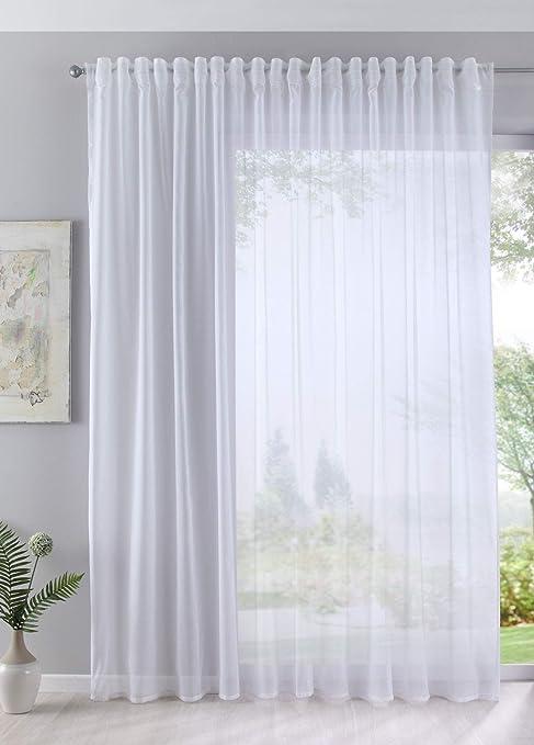 Gardinenbox Visillo Batist Aspecto de algodón Transparente Lazo Oculto Blanco 245x295 (Alto x Ancho en cm): Amazon.es: Hogar
