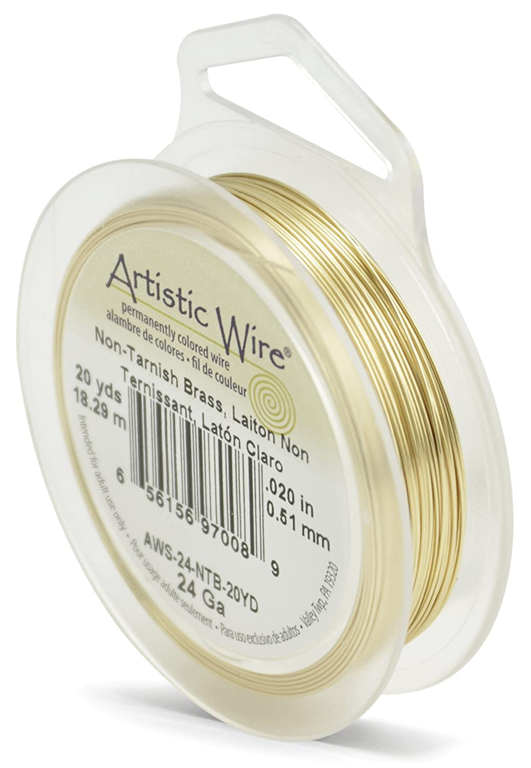 Artistic Wire 24-Gauge Non-Tarnish Brass Wire, 20-Yards Beadalon AWS-24-NTB-20YD