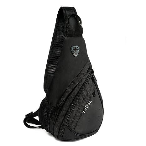 dd92a4b7bd65 Amazon.com   Sport Nylon Sling Bag Shoulder Back Packs Grey Cross ...