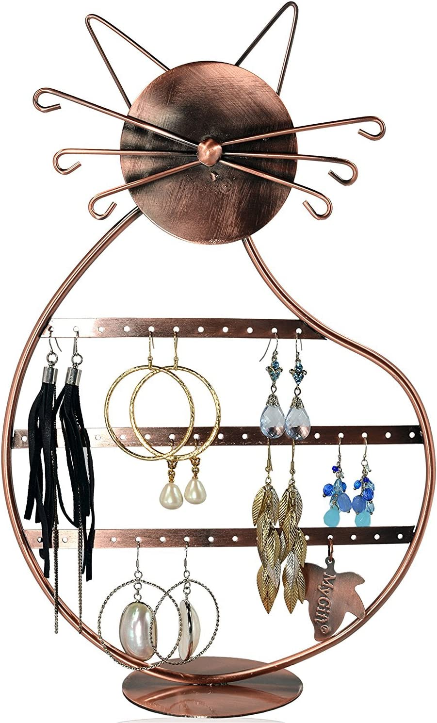 Amazon Com Cat Shape Copper Color Metal Wire Earring Holder Display Stand Jewelry Organizer Home Kitchen