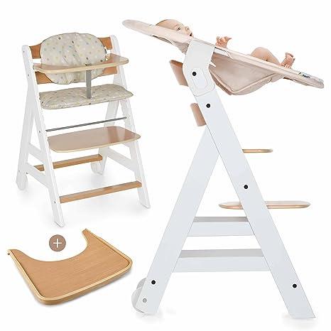 Hauck Beta Plus Newborn Set - Trona de madera evolutiva bebés, incluye hamaca para recién nacidos, cojín, bandeja, altura regulable - color blanco ...