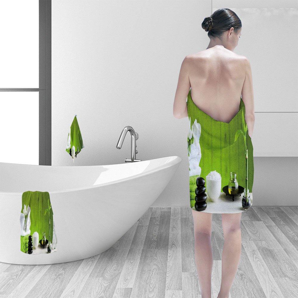 Nalahomeqq Bath towel set Spa concept 3D Digital Printing No Chemical OdorEco-Friendly Non Toxic13.8 x 13.8-11.8''x27.6''-27.6''x55.2''