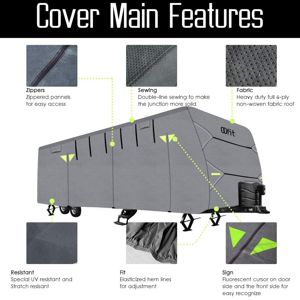 OOFIT Travel Trailer RV Cover Fits for 27' - 30'for RVs, Breathable Waterproof Anti-UV Ripstop Weather Resistant 4 - Ply Non-Woven Fabric Roof,Grey by OOFIT (Image #1)