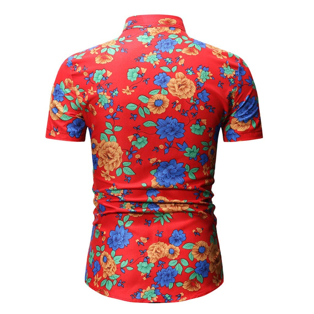 Mens Shirt Summer Slim Fit Printed Short Sleeve Stand Collar Button Top Blouse