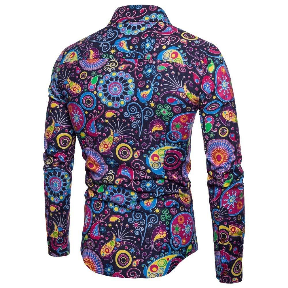 Realdo Mens Bohemian Shirt Business Casual Boho Slim Long Sleeve Fit Print Blouse Top T-Shirt