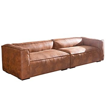 Stylisches Sofa GAUCHO braun 300 cm Used Look Couch Big Sofa ...
