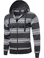 SBW Men's Basic Casual Stripe Zip Up Side Pocket Hoodie Jacket