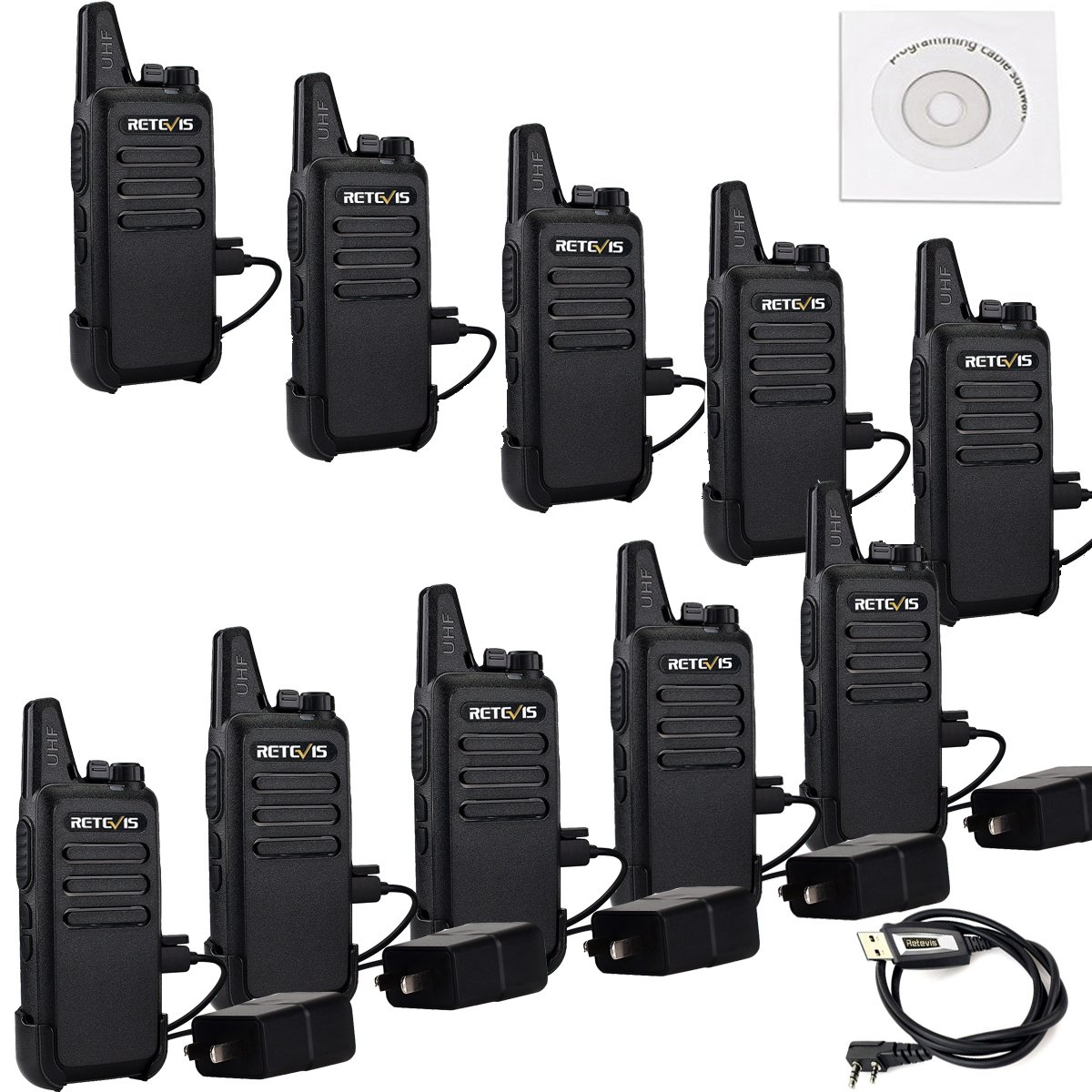 Retevis RT22 Two Way Radio 16 CH VOX CTCSS/DCS License-free Rechargeable Walkie Talkies(10 Pack) and Programming Cable by Retevis