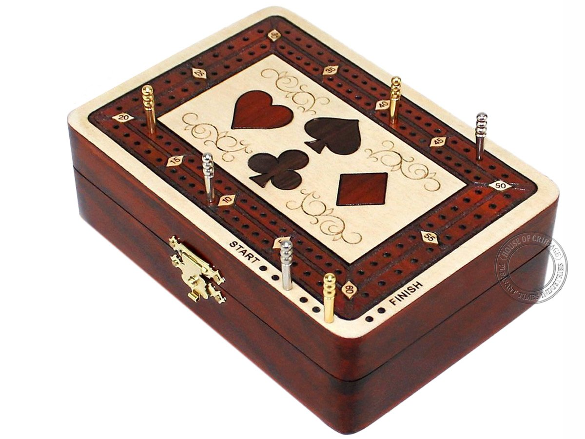 Cribbage Board Wood Inlaid Card Symbols Storage Box 2 Tracks in Maple Bloodwood 60 Points Cribbage Board Store by House of Cribbage