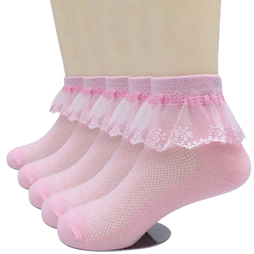 CeeDeek Girl's Cotton Socks Lace Anklet Socks Princess Dress Socks Packs of 5