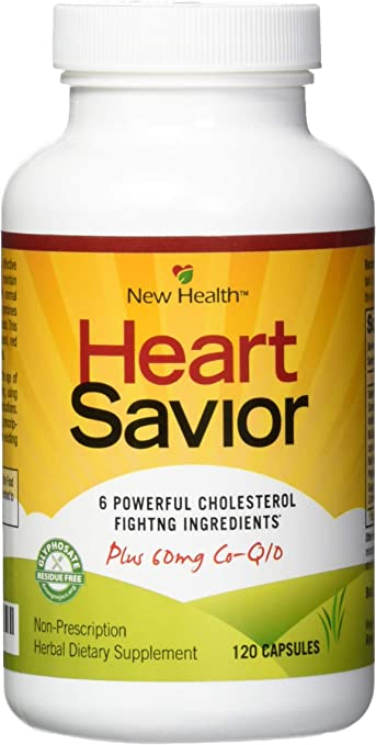 New Health HeartSavior Lower Cholesterol and Heart Health Supplement - Plant Sterols and 60mg of CoQ10 - 120 Capsules