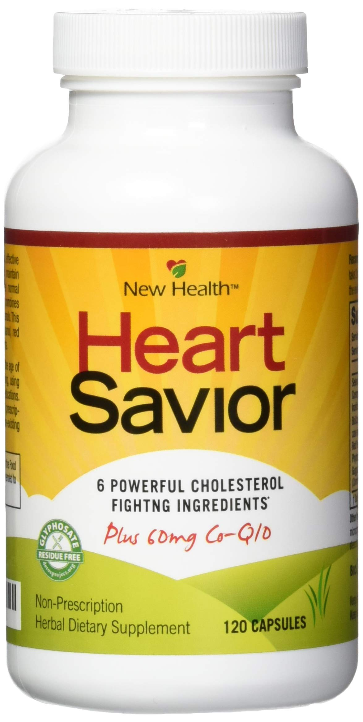 New Health HeartSavior Lower Cholesterol and Heart Health Supplement - Plant Sterols and 60mg of CoQ10 - 120 Capsules by Mountain Health