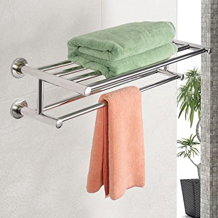 Amazon.com: Double Chrome Wall Mounted Bathroom Towel Rail Holder ...