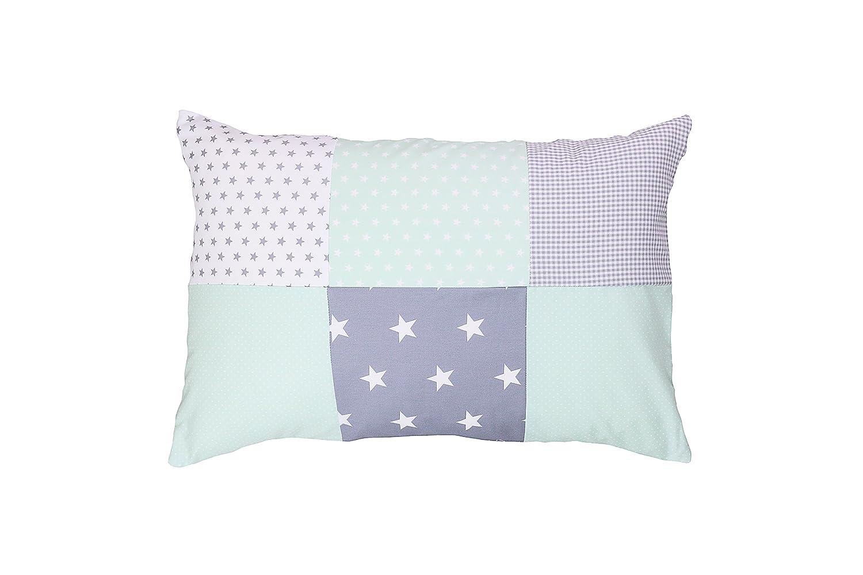 mit Rei/ßverschluss, Bezug auch f/ür Dekokissen geeignet, Motiv: Sterne, Patchwork Design ULLENBOOM /® Baby Kopfkissenbezug 40x60 Blaue Sterne