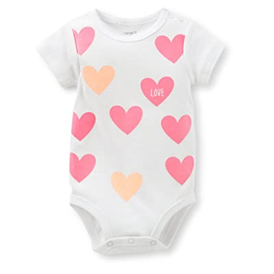 ed69c237e42 Carter's Baby Girls Sparkle Glitter Heart Bodysuit (White Pink ...