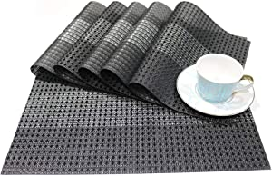 Placemats, Set of 6 Placemats for Dining Table Heat Resistant Washable Placemat Waterproof Non Slip Vinyl Placemat Table Mats Easy to Clean