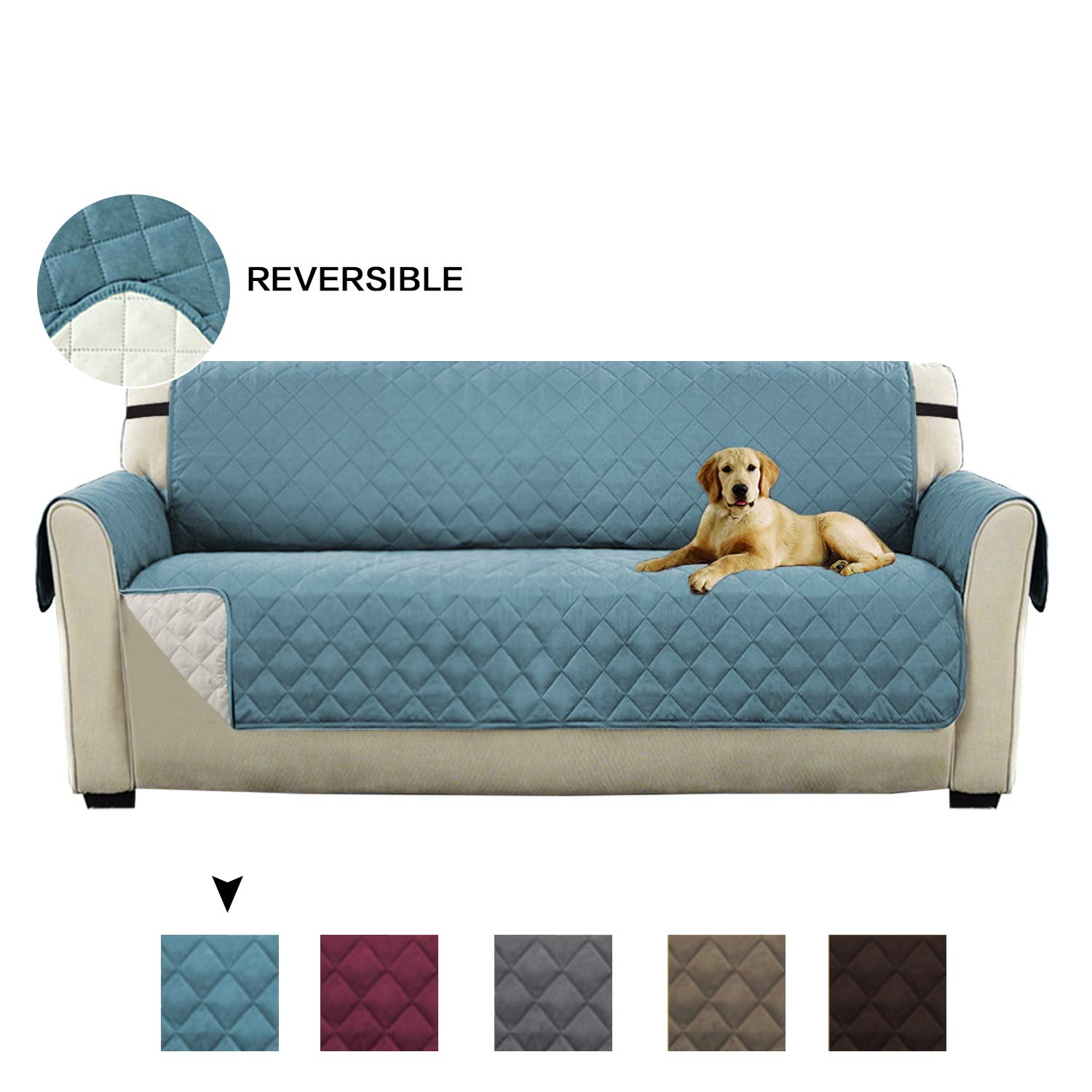 Turquoize Ultra Soft Reversible Quilted Furniture Protector with Straps Sofa Slipcover for Pets (Chair - Brown/Beige, 75' x 65') 75 x 65)