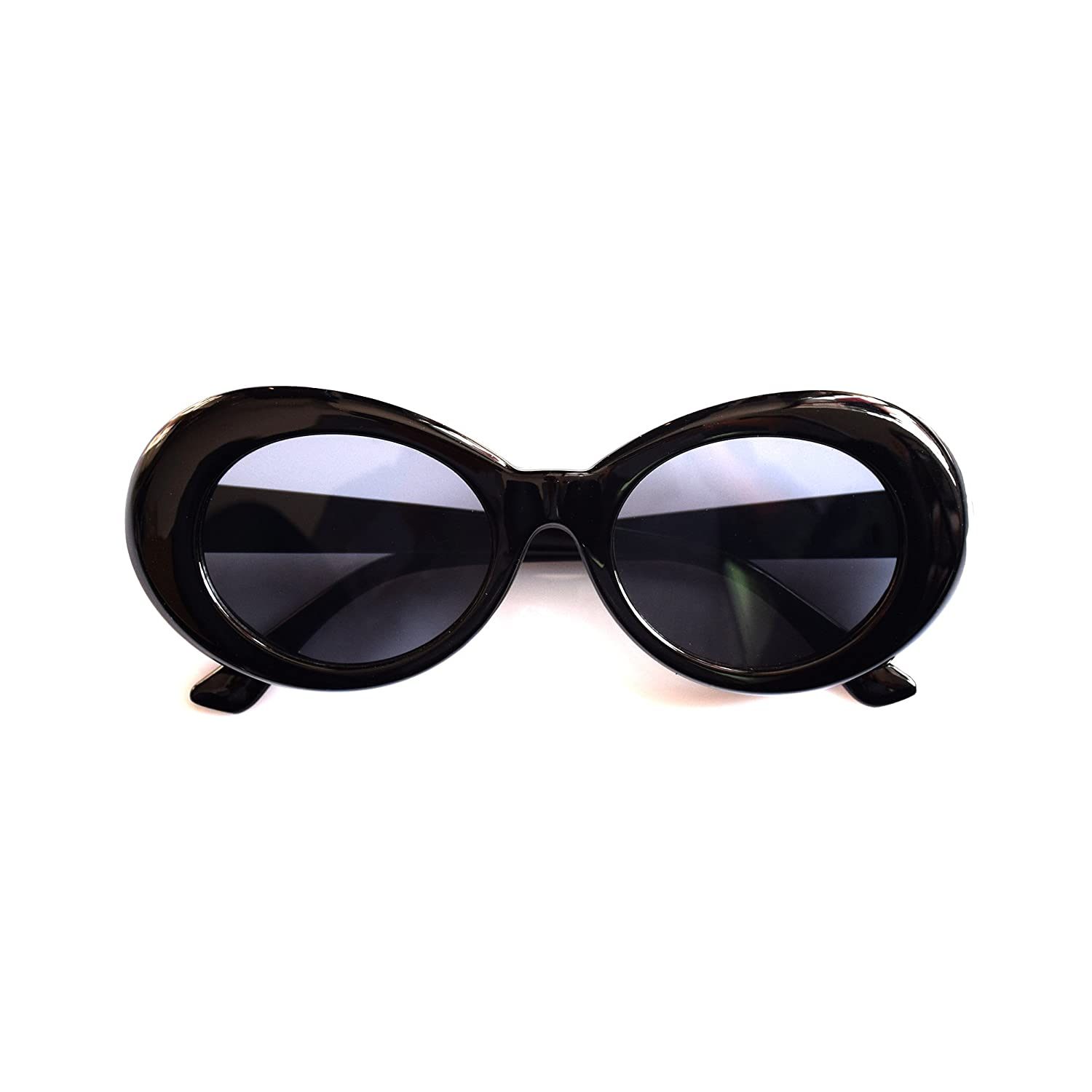 JUSLINK Bold Retro Oval Mod Thick Frame Sunglasses Round Lens Clout Goggles