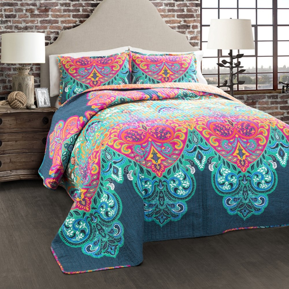 3 Piece Girls Rainbow Bohemian Quilt Full Queen Set, Beautiful Boho Chic Floral Bedding