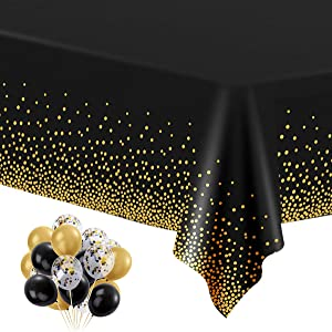 """6 Pack Black and Gold Plastic Tablecloths for Rectangle Tables, Disposable Party Gold Dot Confetti Table Covers with 30 Balloons for Birthday, Graduation, Cocktail Parties, 54"""" x 108"""""""